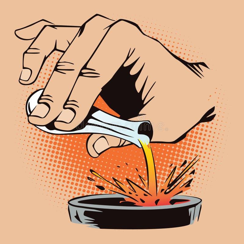 πορτοκαλί απόθεμα απεικόνισης ανασκόπησης φωτεινό Ύφος της λαϊκής τέχνης και του παλαιού comics Χύνοντας υγρό χεριών από έναν σωλ διανυσματική απεικόνιση