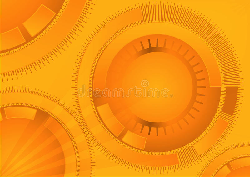 Πορτοκαλί γεωμετρικό υπόβαθρο τεχνολογίας με τη μορφή κύκλων Διανυσματικό αφηρημένο γραφικό σχέδιο διανυσματική απεικόνιση