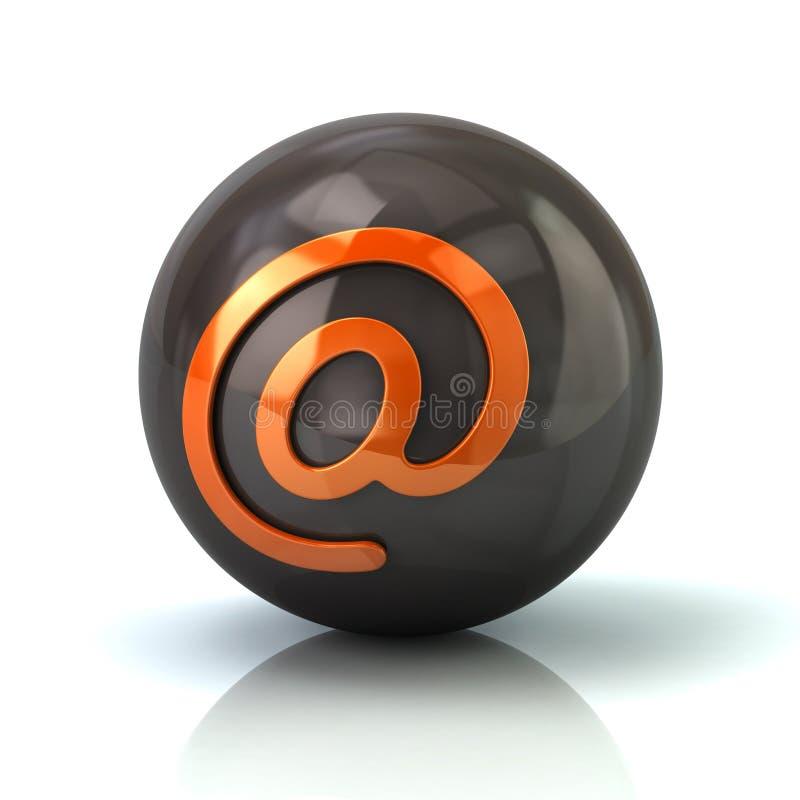 Πορτοκαλί εικονίδιο ηλεκτρονικού ταχυδρομείου στη μαύρη στιλπνή σφαίρα απεικόνιση αποθεμάτων
