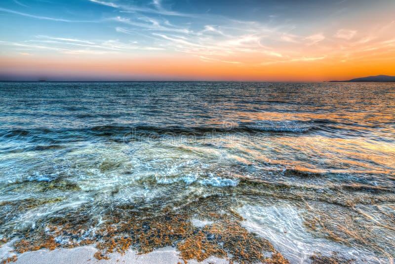 Πορτοκαλί ηλιοβασίλεμα στην παραλία της Μαρίας Pia στοκ φωτογραφίες