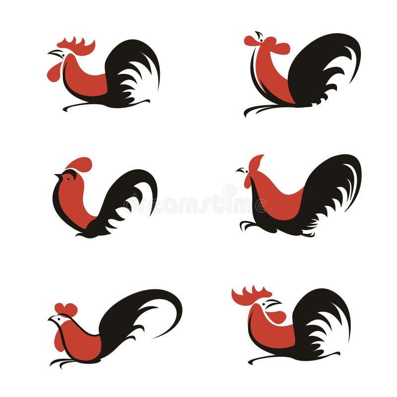 Πορτοκαλί και μαύρο κοτόπουλου κοκκόρων λογότυπων καθορισμένο σχέδιο τέχνης σημαδιών διανυσματικό διανυσματική απεικόνιση