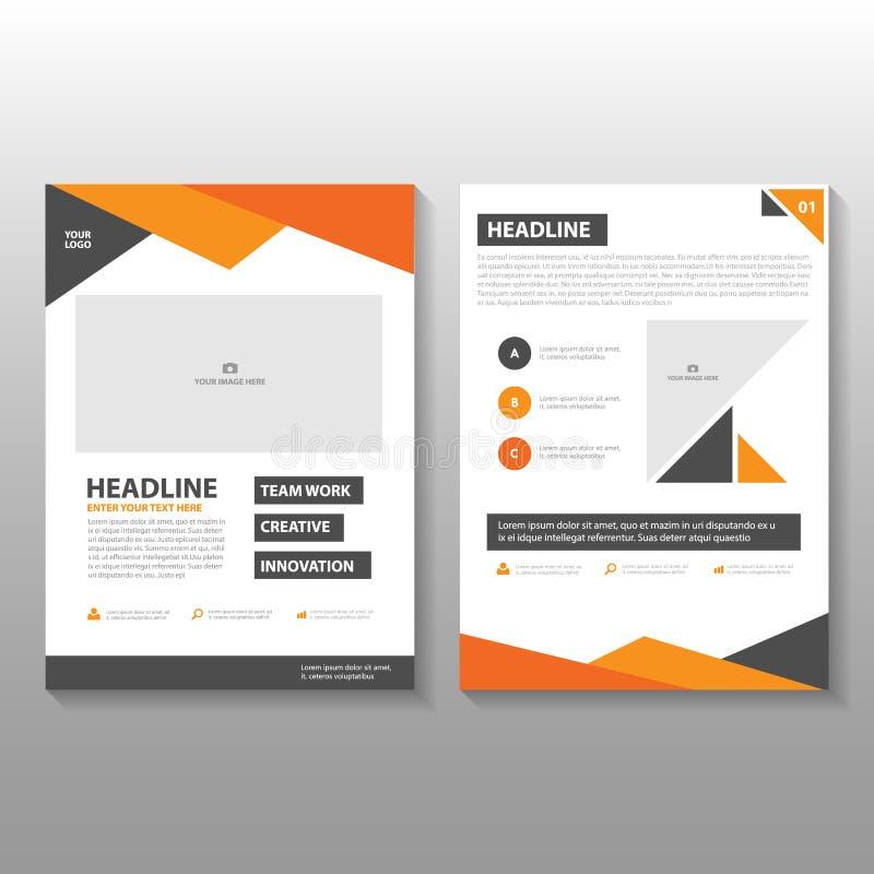 Πορτοκαλί μαύρο σχέδιο προτύπων ιπτάμενων φυλλάδιων φυλλάδιων ετήσια εκθέσεων τριγώνων, σχέδιο σχεδιαγράμματος κάλυψης βιβλίων διανυσματική απεικόνιση
