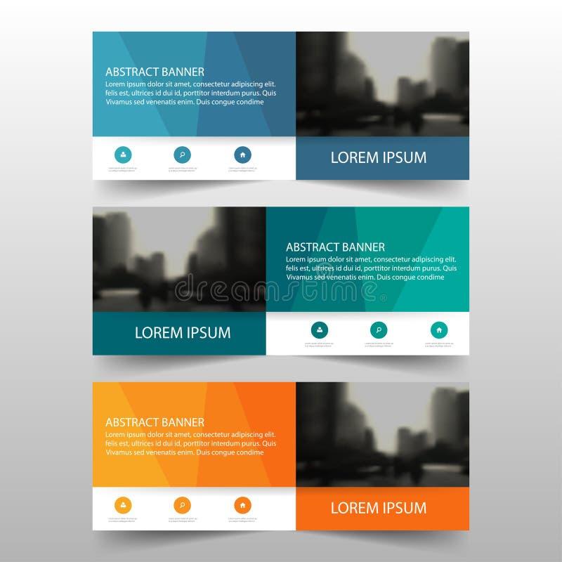 Πορτοκαλί πράσινο μπλε polygonal εταιρικό πρότυπο επιχειρησιακών εμβλημάτων, οριζόντιο επίπεδο σχέδιο προτύπων σχεδιαγράμματος επ ελεύθερη απεικόνιση δικαιώματος