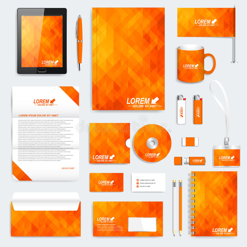 Πορτοκαλί σύνολο διανυσματικού εταιρικού προτύπου ταυτότητας Σύγχρονο πρότυπο χαρτικών Υπόβαθρο με τα πορτοκαλιά και κίτρινα τρίγ απεικόνιση αποθεμάτων