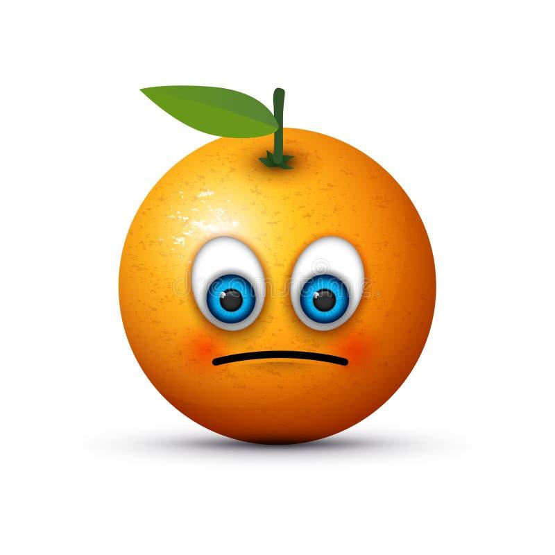 Πορτοκαλί λυπημένο emoji διανυσματική απεικόνιση