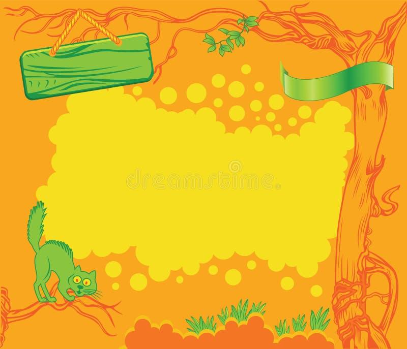 Πορτοκαλί υπόβαθρο κινούμενων σχεδίων διανυσματική απεικόνιση
