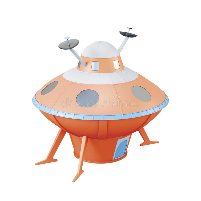 Πορτοκαλί UFO που απομονώνεται στο άσπρο υπόβαθρο τρισδιάστατη απόδοση ελεύθερη απεικόνιση δικαιώματος