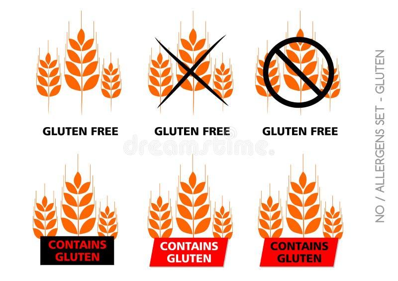 Πορτοκαλιά διανυσματικά ελεύθερα σημάδια γλουτένης στο άσπρο υπόβαθρο στοκ εικόνες με δικαίωμα ελεύθερης χρήσης