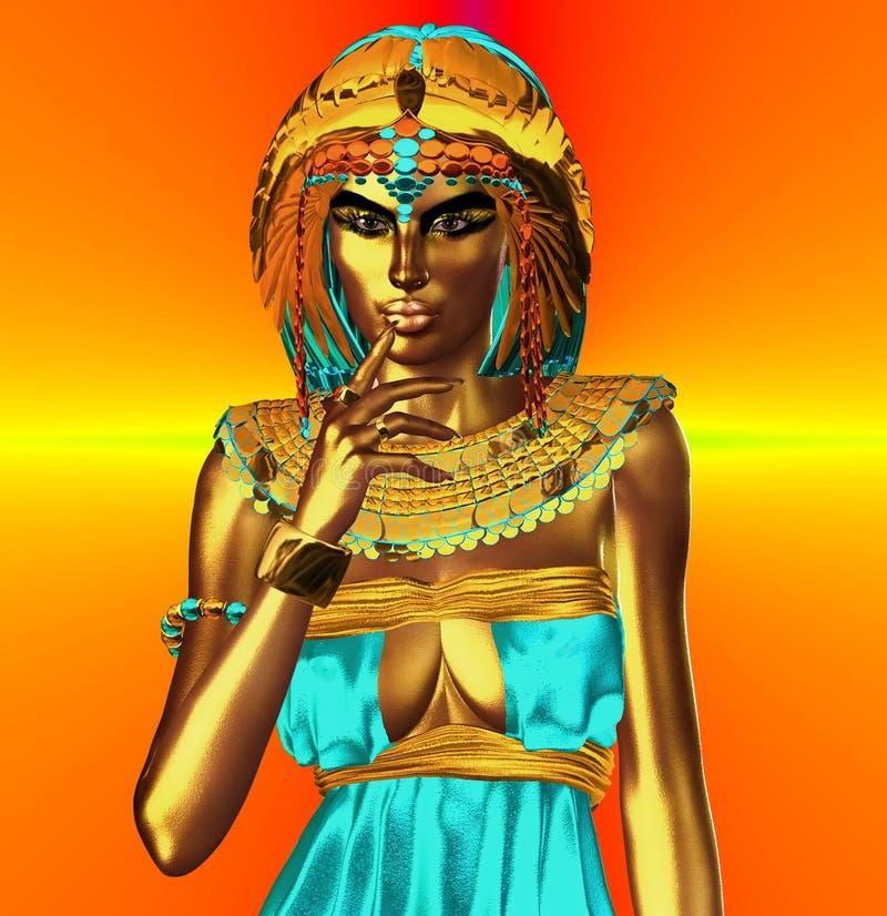 Πορτοκαλιά μεταλλική αιγυπτιακή θεά διανυσματική απεικόνιση