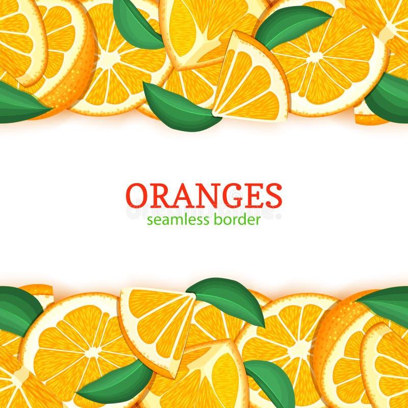 Πορτοκαλιά οριζόντια άνευ ραφής σύνορα φρούτων Διανυσματικό απεικόνισης καρτών σύνολο και φέτα μανταρινιών κορυφών και κατώτατων  ελεύθερη απεικόνιση δικαιώματος