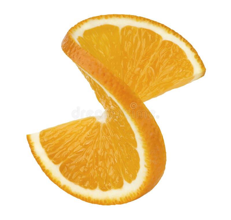 Πορτοκαλιά στριμμένη φέτα 2 που απομονώνεται στο άσπρο υπόβαθρο στοκ εικόνες