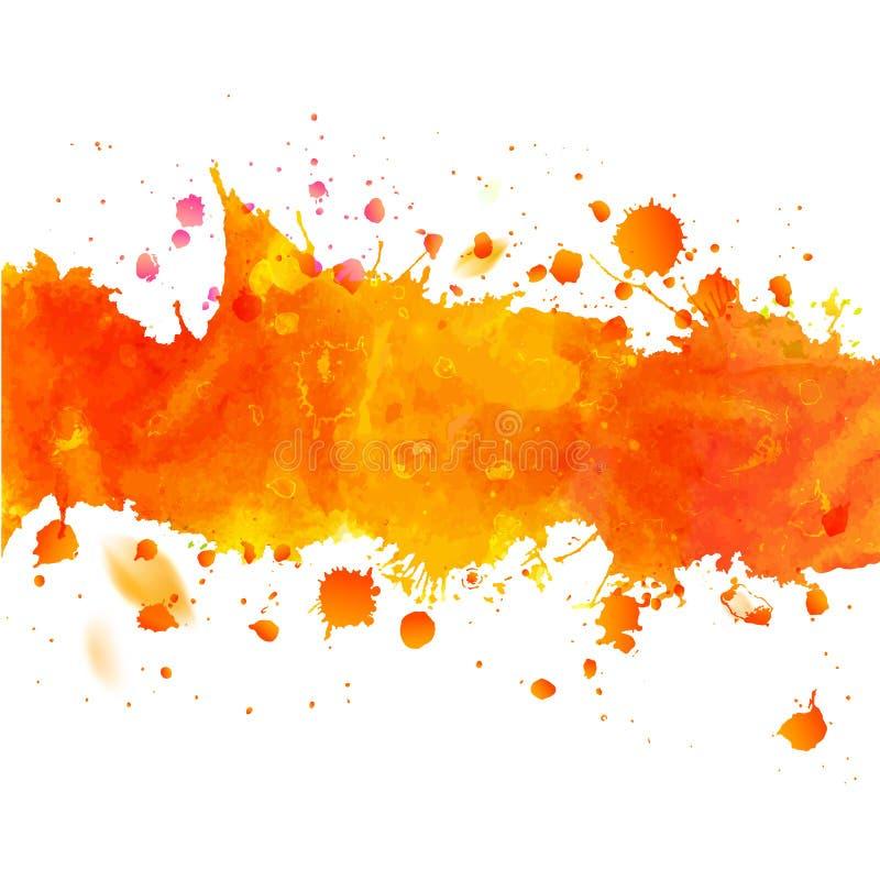 Πορτοκαλιά ταινία σχεδίων Watercolor με τους παφλασμούς διανυσματική απεικόνιση