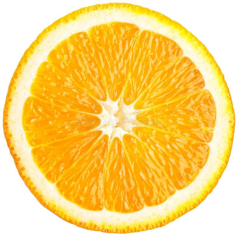 Πορτοκαλιά φέτα (μισό) σε ένα λευκό. στοκ εικόνα με δικαίωμα ελεύθερης χρήσης