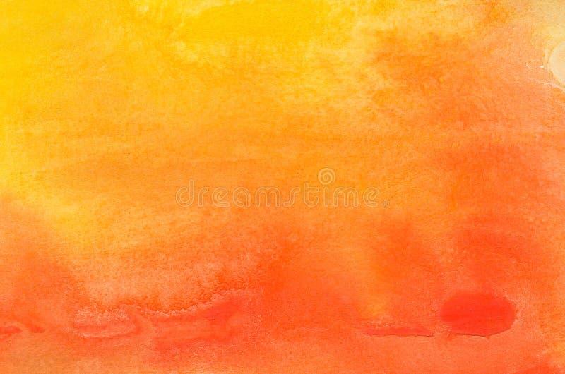 Πορτοκαλιά χρωματισμένη watercolor σύσταση υποβάθρου στοκ φωτογραφία