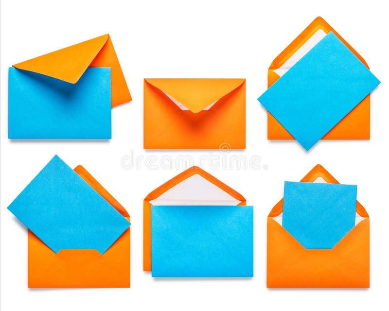 Πορτοκαλιοί φάκελοι με την κάρτα στοκ φωτογραφίες με δικαίωμα ελεύθερης χρήσης