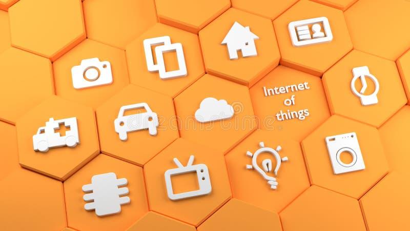 Πορτοκαλιοί hexagon πύργοι με Διαδίκτυο των εικονιδίων πραγμάτων ελεύθερη απεικόνιση δικαιώματος
