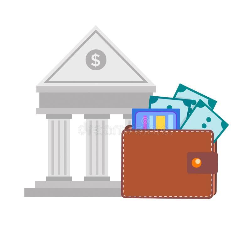 Πορτοφόλι δέρματος με τα τραπεζογραμμάτια και πιστωτική κάρτα στο υπόβαθρο ο ελεύθερη απεικόνιση δικαιώματος