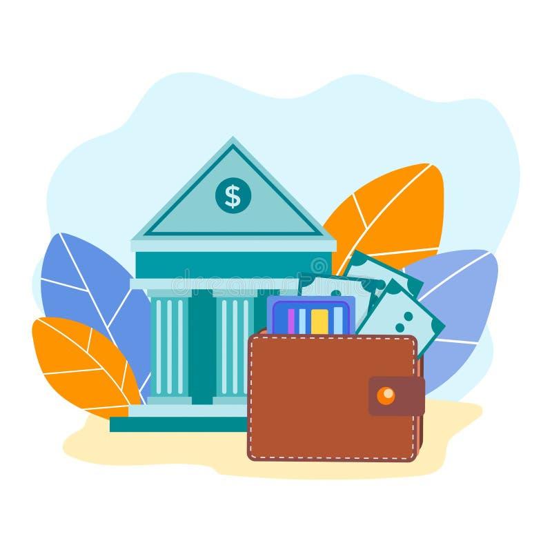 Πορτοφόλι δέρματος με τα τραπεζογραμμάτια και τις πιστωτικές κάρτες στο υπόβαθρο απεικόνιση αποθεμάτων