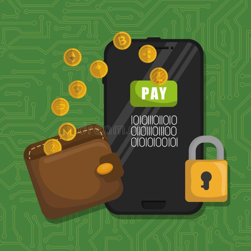 Πορτοφόλι με τα εικονικά νομίσματα και το smartphone ελεύθερη απεικόνιση δικαιώματος