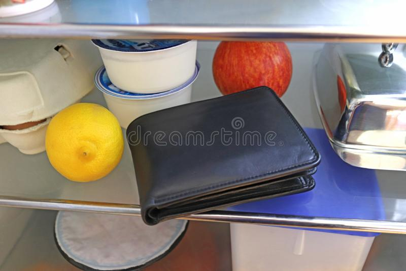 Πορτοφόλι που κατατίθεται σε ένα ψυγείο στοκ εικόνες