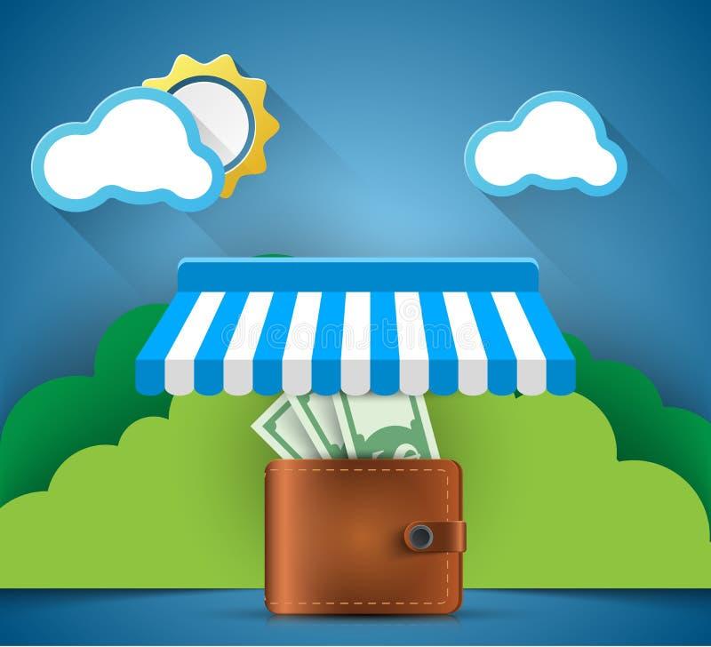 Πορτοφόλι, χρήματα, κατάστημα, εικονίδιο καταστημάτων Επιχείρηση Infographic διανυσματική απεικόνιση