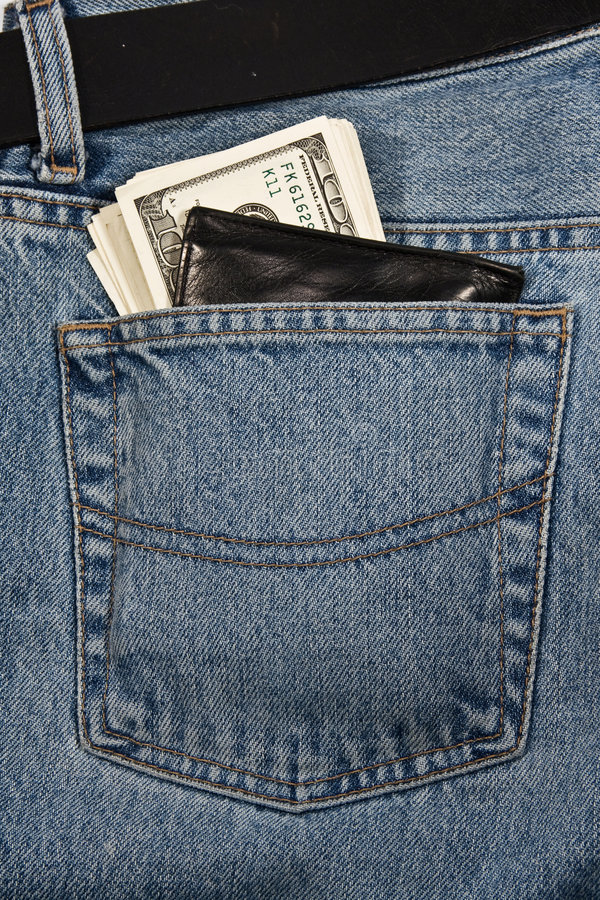 πορτοφόλι χρημάτων τζιν στοκ εικόνα με δικαίωμα ελεύθερης χρήσης