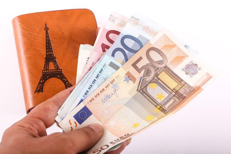Πορτοφόλι και ευρώ δέρματος στοκ εικόνες με δικαίωμα ελεύθερης χρήσης