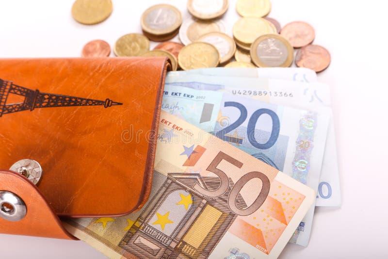 Πορτοφόλι και ευρώ δέρματος στοκ φωτογραφίες με δικαίωμα ελεύθερης χρήσης