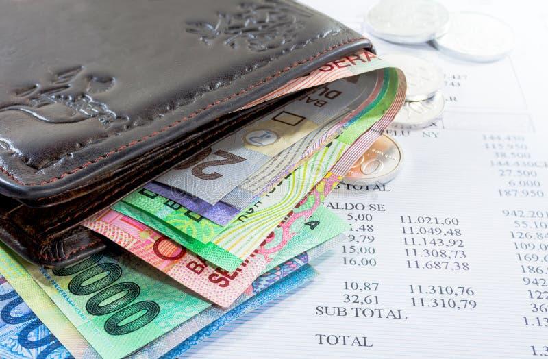Πορτοφόλι και χρήματα στοκ εικόνα με δικαίωμα ελεύθερης χρήσης