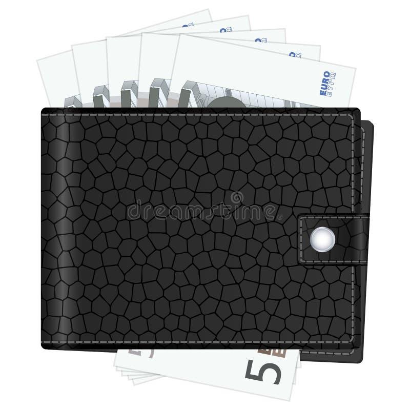 Πορτοφόλι με πέντε ευρο- τραπεζογραμμάτια απεικόνιση αποθεμάτων