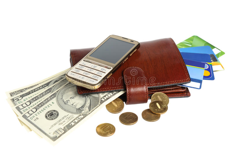 Πορτοφόλι τα χρήματα, τις πιστωτικές κάρτες και το κινητό τηλέφωνο που απομονώνονται με στο μόριο στοκ φωτογραφία με δικαίωμα ελεύθερης χρήσης