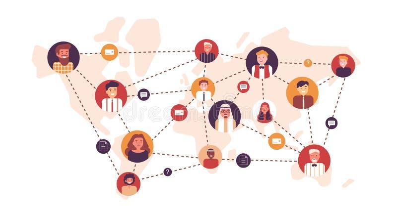 Πορτρέτα των ευτυχών ανδρών και των γυναικών που συνδέονται η μια με την άλλη με τις διαστιγμένες γραμμές στον παγκόσμιο χάρτη Πα απεικόνιση αποθεμάτων