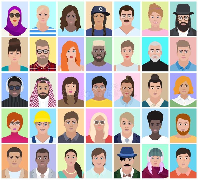 Πορτρέτα των διαφορετικών ανθρώπων, διανυσματική απεικόνιση διανυσματική απεικόνιση