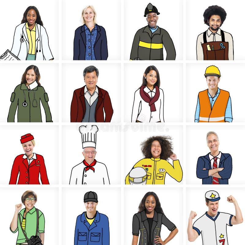 Πορτρέτα των διαφορετικών ανθρώπων με τις διαφορετικές εργασίες στοκ φωτογραφίες