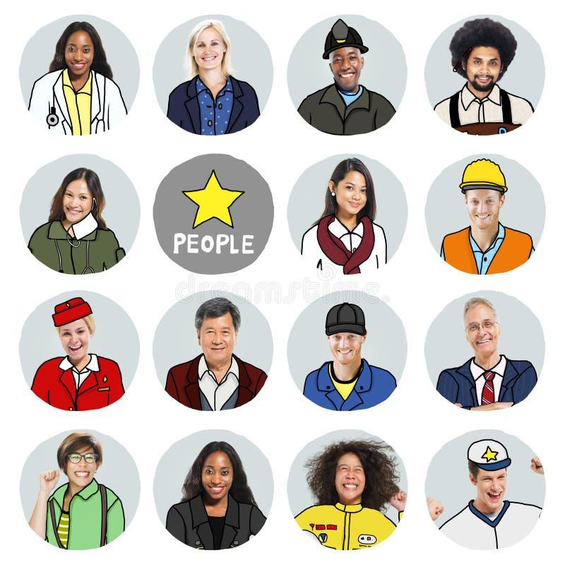 Πορτρέτα των διαφορετικών ανθρώπων με τις διαφορετικές εργασίες στοκ φωτογραφία