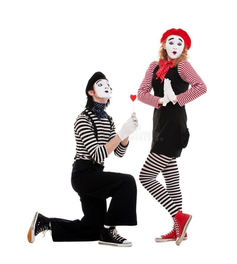 πορτρέτο αγάπης ζευγών mimes στοκ εικόνα