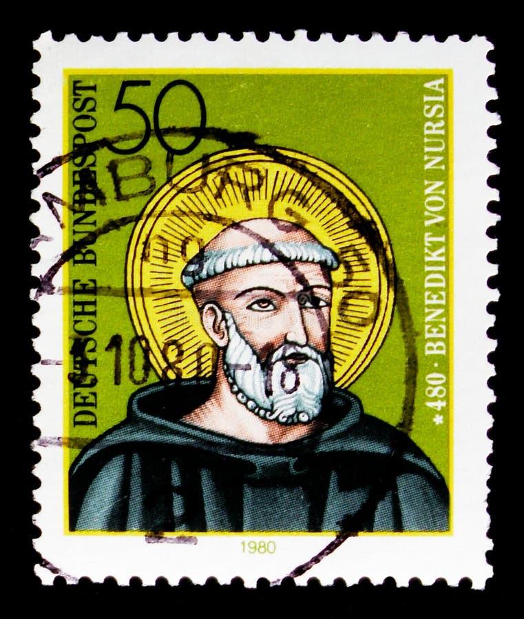 Πορτρέτο Αγίου Benedict Nursia, 1500η επέτειος γέννησης serie, circa 1980 στοκ εικόνα
