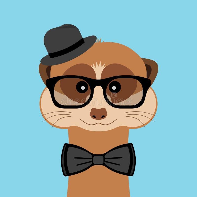 Πορτρέτο αγοριών Meerkat με τα γυαλιά, το δεσμό καπέλων και τόξων επίσης corel σύρετε το διάνυσμα απεικόνισης ελεύθερη απεικόνιση δικαιώματος