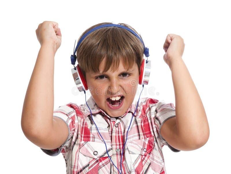 πορτρέτο ακουστικών αγοριών Στοκ Εικόνες