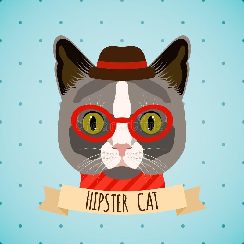 Πορτρέτο γατών Hipster διανυσματική απεικόνιση