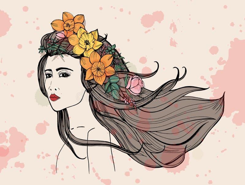 Πορτρέτο γυναικών μόδας με τους λεκέδες watercolor Όμορφο κορίτσι με τα λουλούδια, ρέοντας τρίχα Χέρι που σύρεται ζωηρόχρωμο διανυσματική απεικόνιση