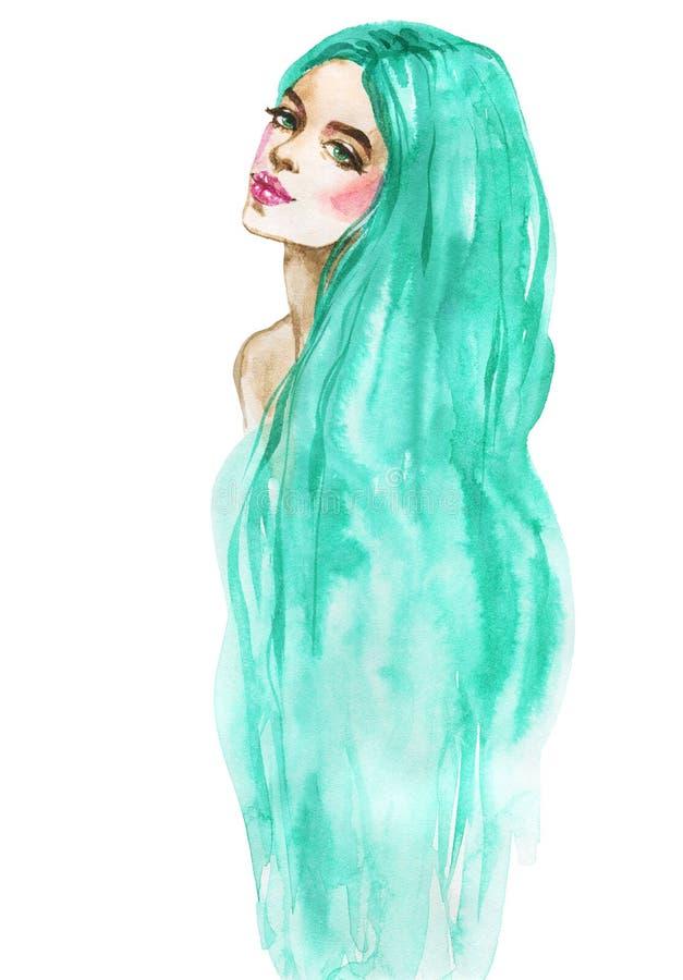 Πορτρέτο γυναικών μόδας Watercolor Συρμένο χέρι κορίτσι ομορφιάς με μακρυμάλλη ελεύθερη απεικόνιση δικαιώματος