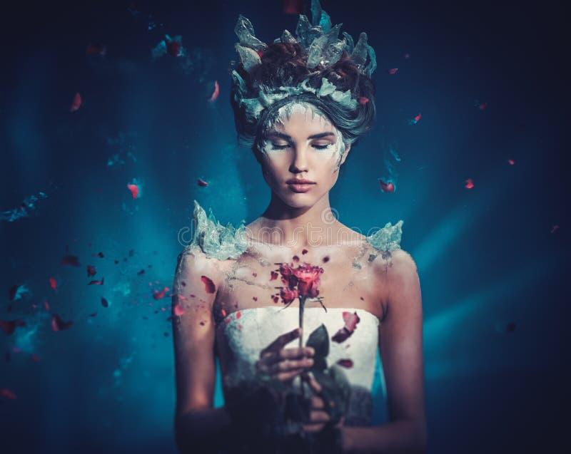 Πορτρέτο γυναικών φαντασίας χειμερινής ομορφιάς στοκ φωτογραφία