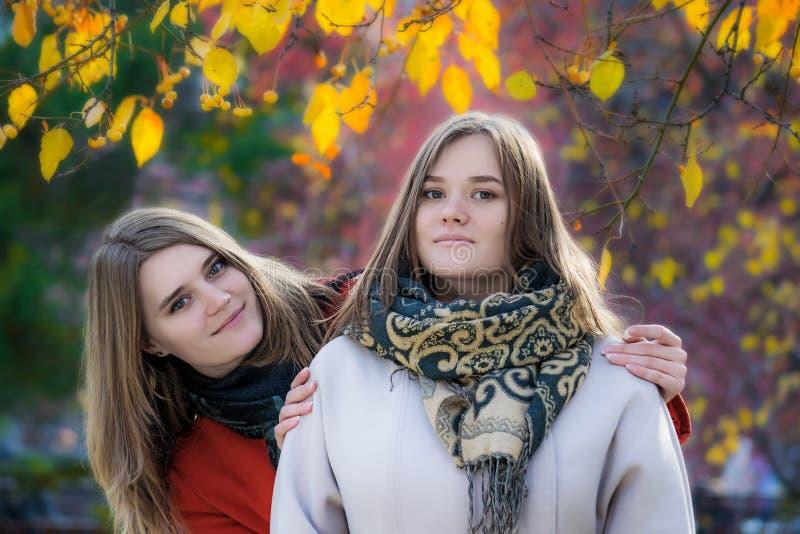 Πορτρέτο δύο όμορφες ευτυχείς φίλες μια ηλιόλουστη ημέρα φθινοπώρου στοκ εικόνα