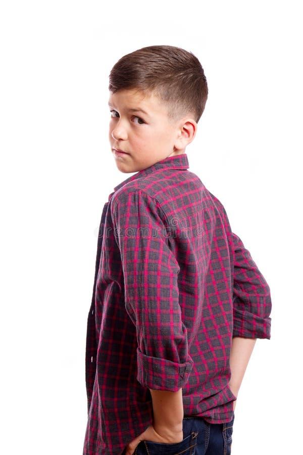 Πορτρέτο ενός αγοριού σε μια μισό-στροφή στοκ εικόνα
