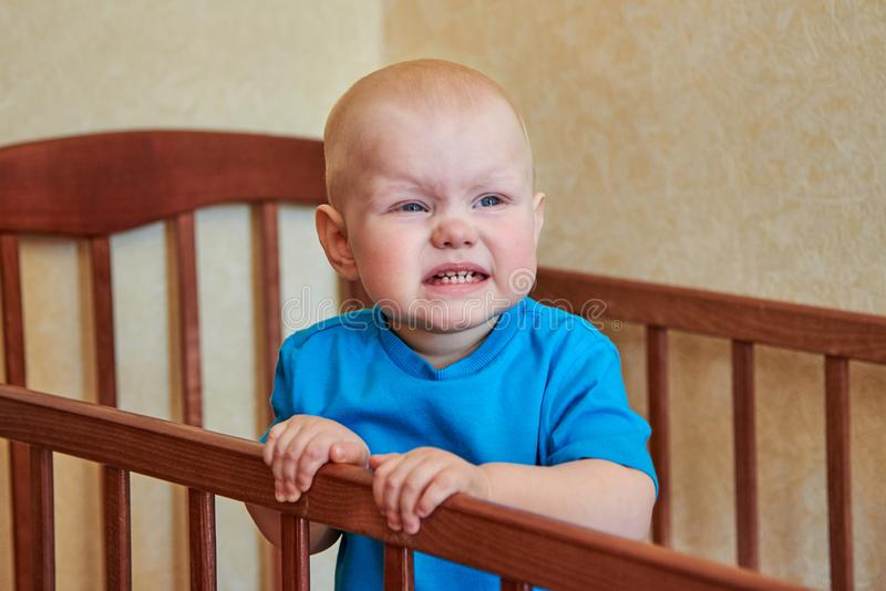 Πορτρέτο ενός αστείου αγοριού που μορφάζει στο παχνί του στοκ φωτογραφία με δικαίωμα ελεύθερης χρήσης