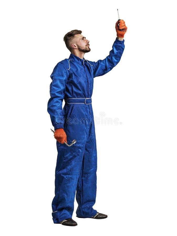 Πορτρέτο ενός εργαζομένου στην άσπρη απομόνωση στοκ φωτογραφία