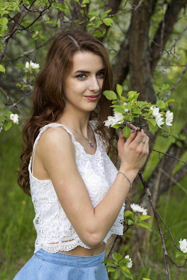 Πορτρέτο ενός κοριτσιού που περιβάλλεται από τα άσπρα ανθίζοντας δέντρα στοκ φωτογραφίες με δικαίωμα ελεύθερης χρήσης