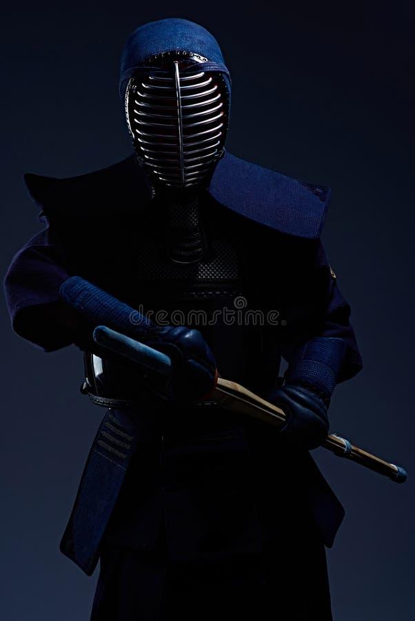 Πορτρέτο ενός μαχητή kendo με το shinai στοκ φωτογραφίες