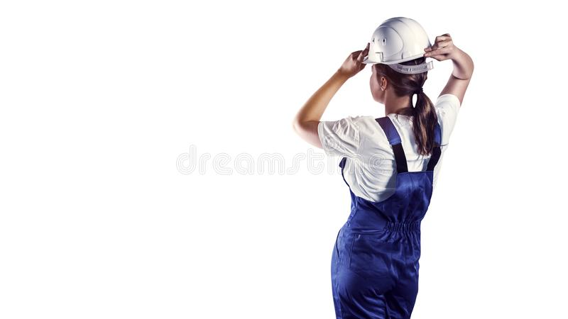 Πορτρέτο ενός ΟΙΚΟΔΟΜΟΥ στην άσπρη απομόνωση στοκ φωτογραφία με δικαίωμα ελεύθερης χρήσης